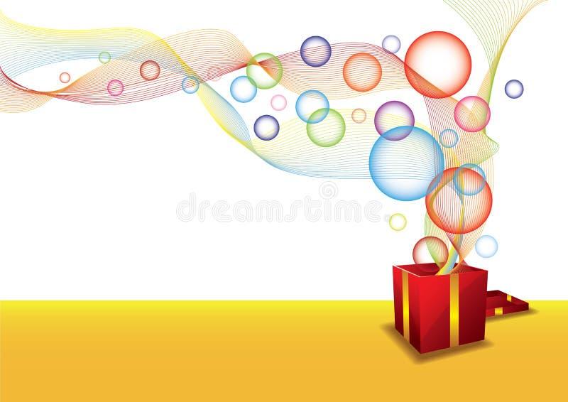 Geschenkkasten und -luftblase vektor abbildung