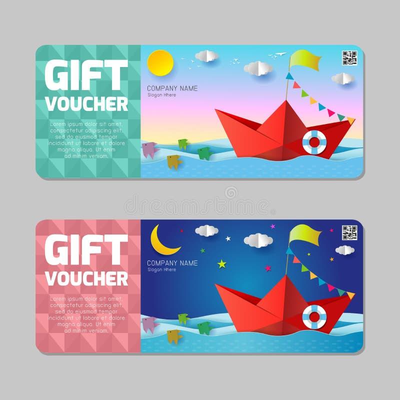 Geschenkreisegutschein, reisende Promokarte, nette Geschenkgutscheinzertifikatkupon-Entwurfsschablone, Reisegutscheinorigamiboot vektor abbildung