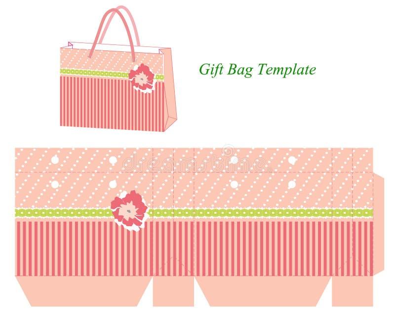 Geschenktaschenschablone mit Streifen und Blume stock abbildung
