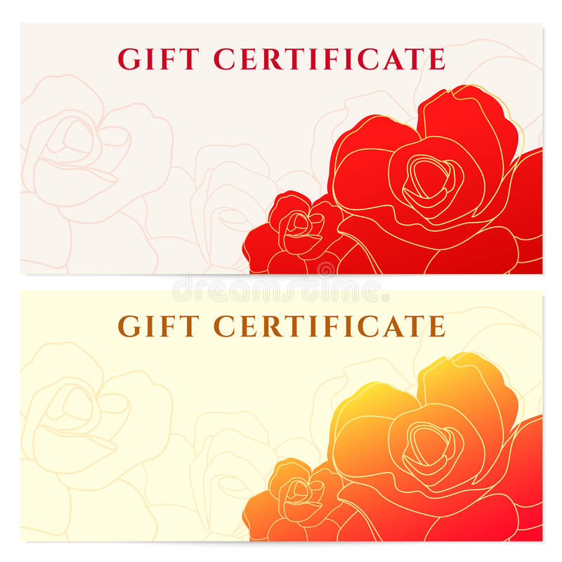 Geschenkzertifikat-Belegschablone. Blumenmuster lizenzfreie abbildung