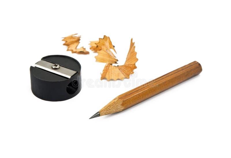 Gescherpt potlood en schaafsel stock afbeeldingen