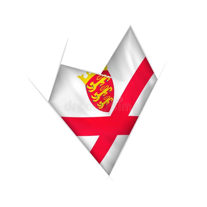 Geschetst bochtig hart met de vlag van Jersey vector illustratie