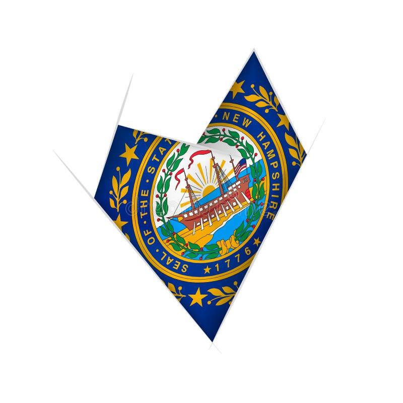Geschetst bochtig hart met New Hampshire-vlag royalty-vrije illustratie