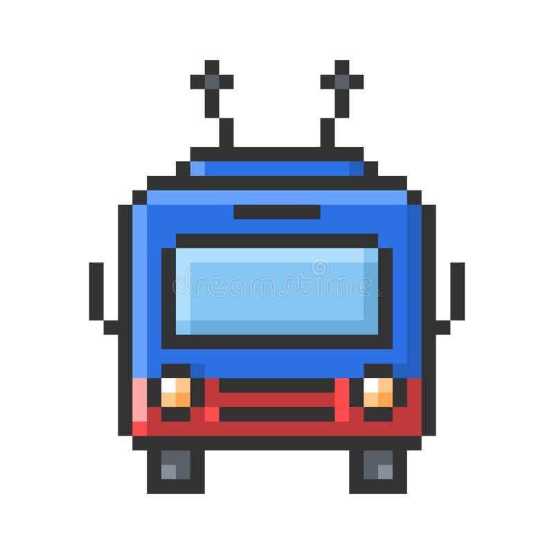 Geschetst pixelpictogram van trolleybus vector illustratie