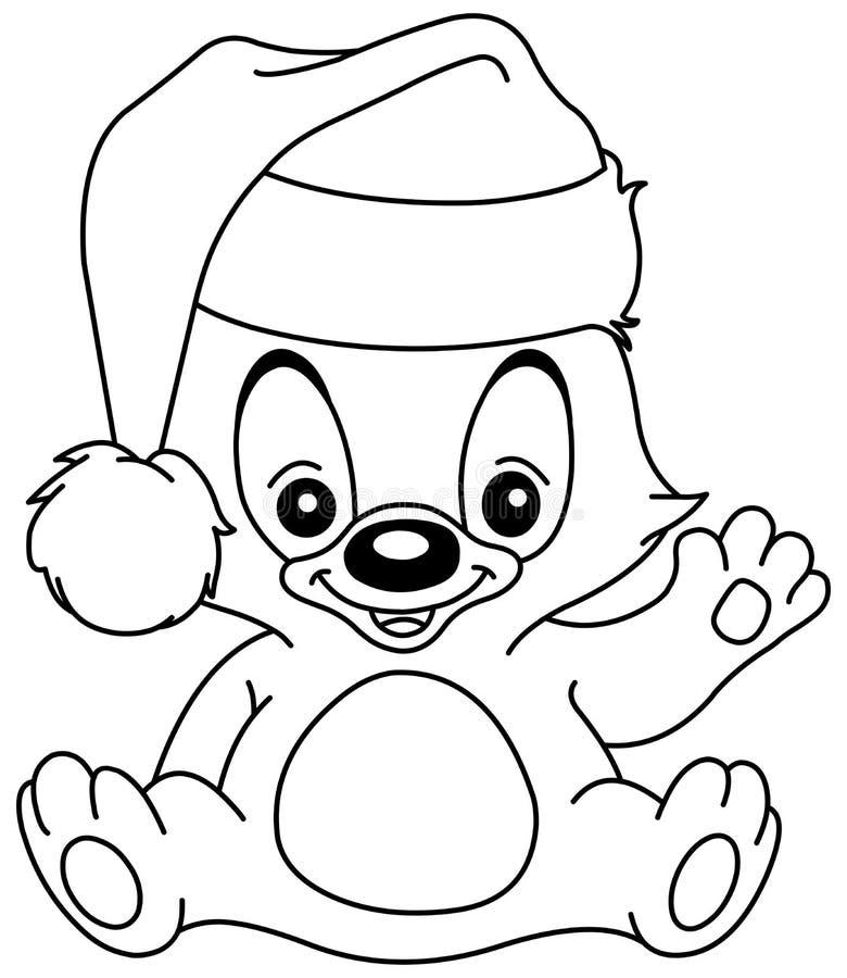 Geschetste Kerstmis golvende teddybeer vector illustratie