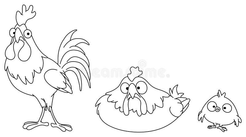 Geschetste kippenfamilie vector illustratie