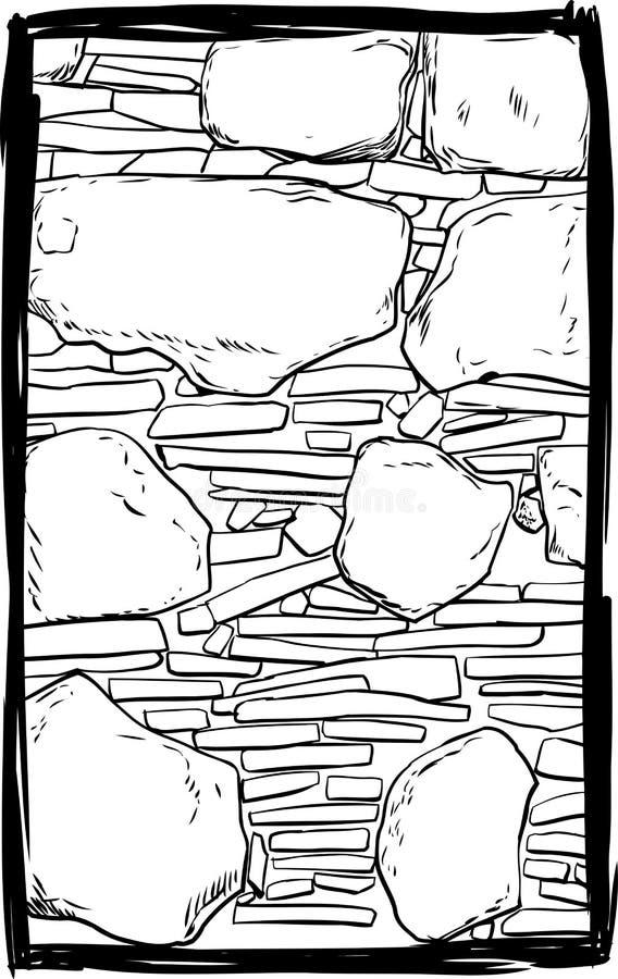 Geschetste oude steenmuur royalty-vrije illustratie