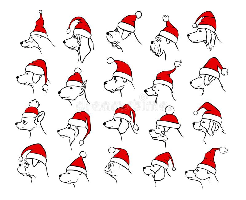 Geschetste silhouetten van het Kerstmis de gelukkige nieuwe jaar 2018 van de verschillende profielen van hondenhoofden stock illustratie