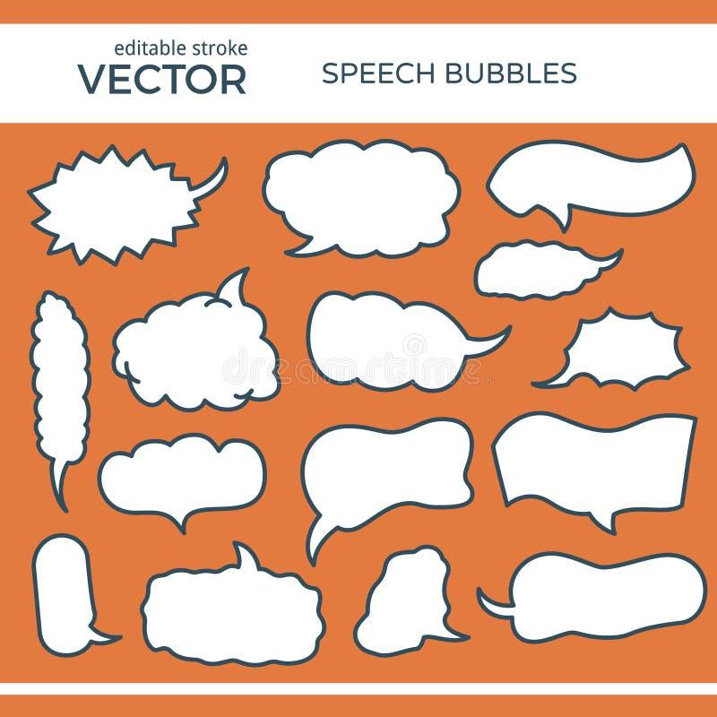 Geschetste Toespraakbellen met Editable-Slag stock illustratie