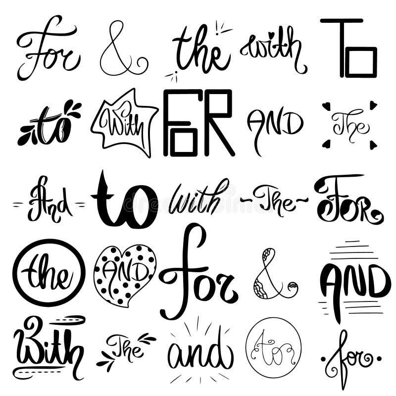 Geschetste vector ampersands en wachtwoorden Decoratieve kalligrafische detailes De grote inzameling van zwarte, wit handsketched stock illustratie