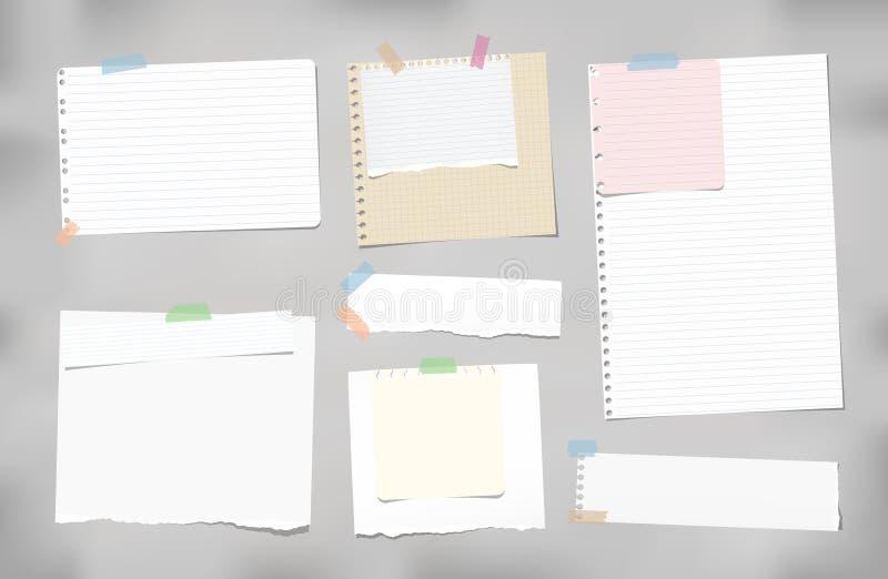 Gescheurd beslist die, regelde de spatie, nota, notitieboekje, voorbeeldenboekdocument stroken, bladen met kleurrijke kleverige b royalty-vrije illustratie