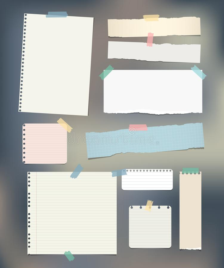 Gescheurd beslist, nota, notitieboekje, voorbeeldenboekdocument stroken, geplakte bladen royalty-vrije illustratie