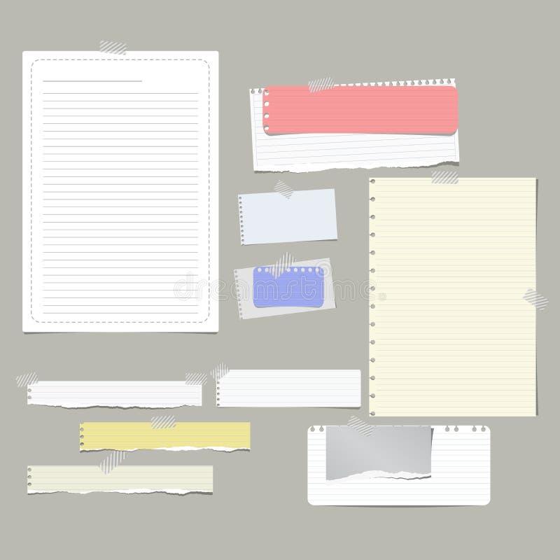 Gescheurd beslist, plakte de nota, notitieboekje, voorbeeldenboekdocument stroken, bladen met kleverige band op grijze achtergron stock illustratie