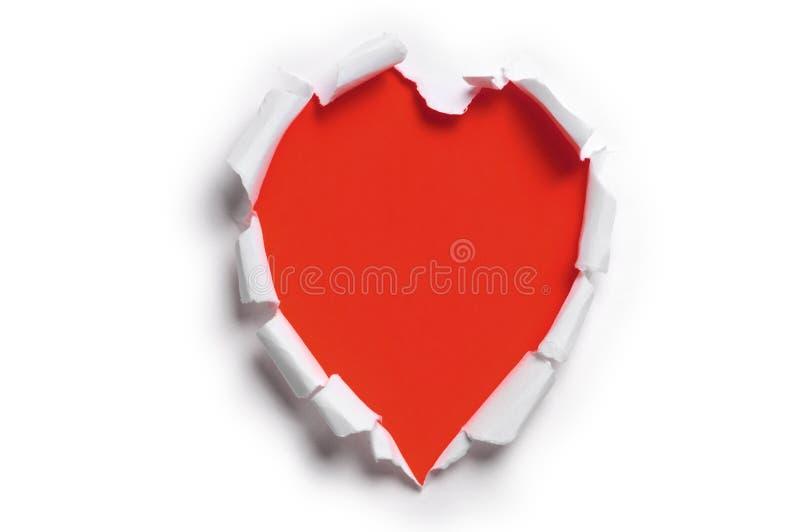 Gescheurd document in de vorm van een hart royalty-vrije stock fotografie