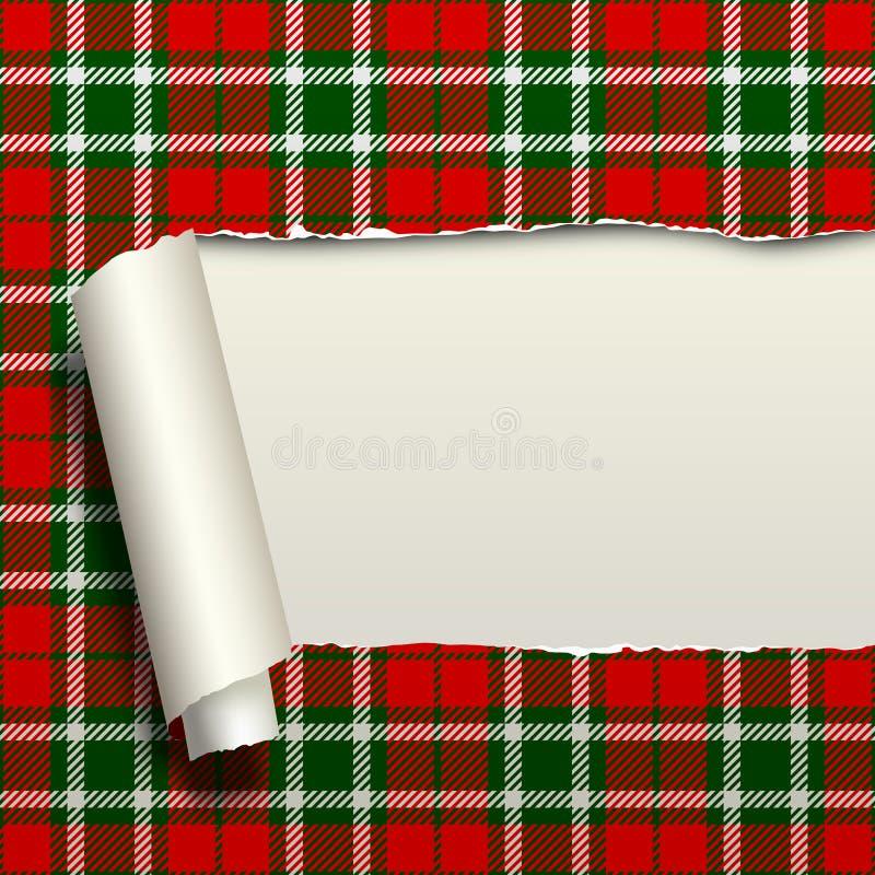 Gescheurd document met achtergrond van het geruit Schots wollen stof de naadloze patroon vector illustratie