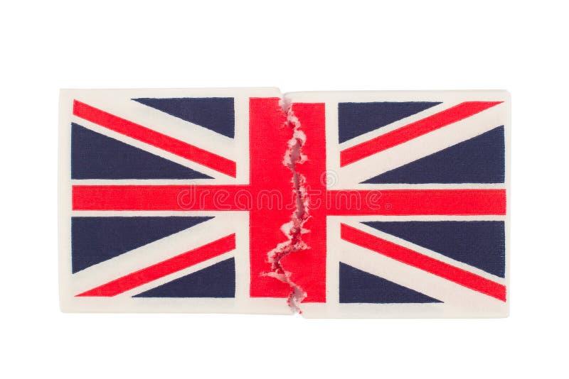 Gescheurd document servet met de vlag van het Verenigd Koninkrijk royalty-vrije stock fotografie