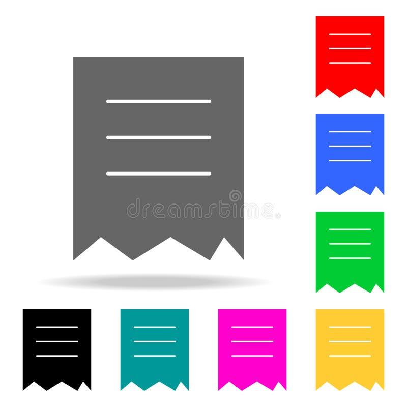 gescheurd documentpictogram Elementen in multi gekleurde pictogrammen voor mobiel concept en Web apps Pictogrammen voor websiteon royalty-vrije illustratie