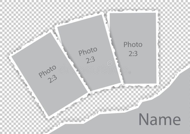 Gescheurd het document van randengrenzen de kadersmalplaatje van de stijlfoto royalty-vrije illustratie