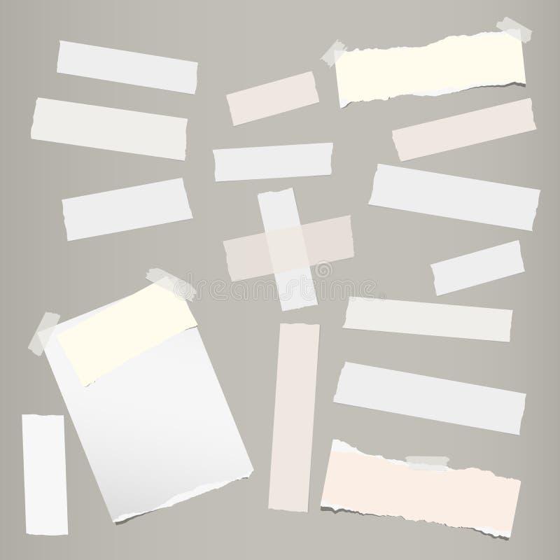 Gescheurd notitieboekje, notadocument, kleverige kleefstof, band voor tekst of bericht op grijze achtergrond Vector illustratie stock illustratie
