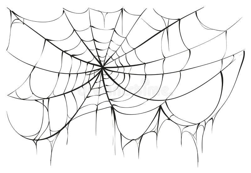 Gescheurd spinneweb op witte achtergrond stock illustratie