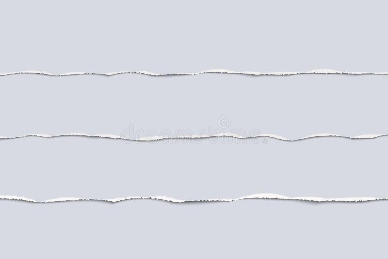 Gescheurde document de scheurdocument van de strook vastgestelde realistische vectorillustratie randen voor banner, kopbal, verde vector illustratie