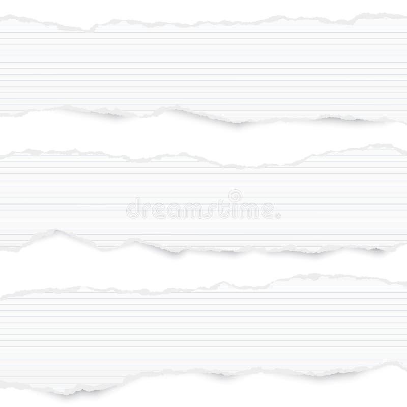 Download Gescheurde Het Wit Voerde Horizontale Notadocument Stroken Voor Tekst Of Bericht Dat Op Witte Achtergrond Wordt Geplakt Vector Illustratie - Illustratie bestaande uit krant, etiket: 114225687