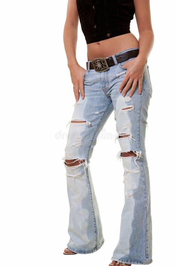 Gescheurde jeans royalty-vrije stock afbeeldingen