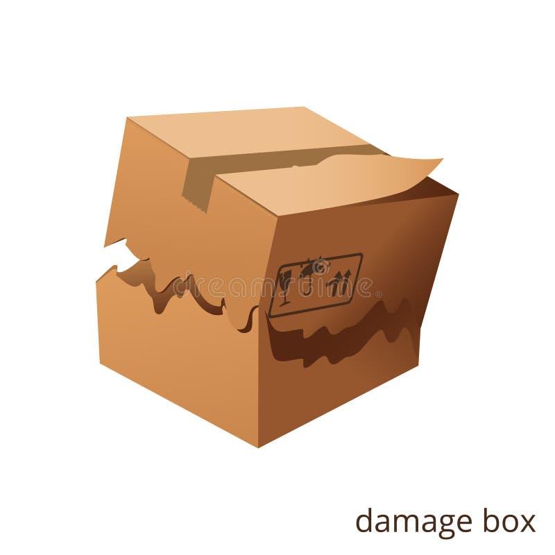 Gescheurde vector en schadedoos, lading, goederen stock illustratie