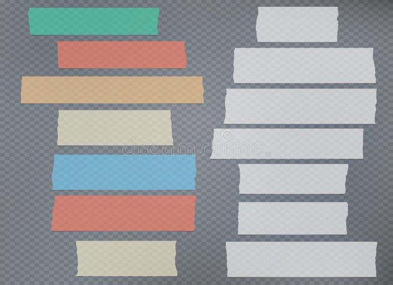 Gescheurde witte en kleurrijke nota, kleefstof, afplakband stock illustratie