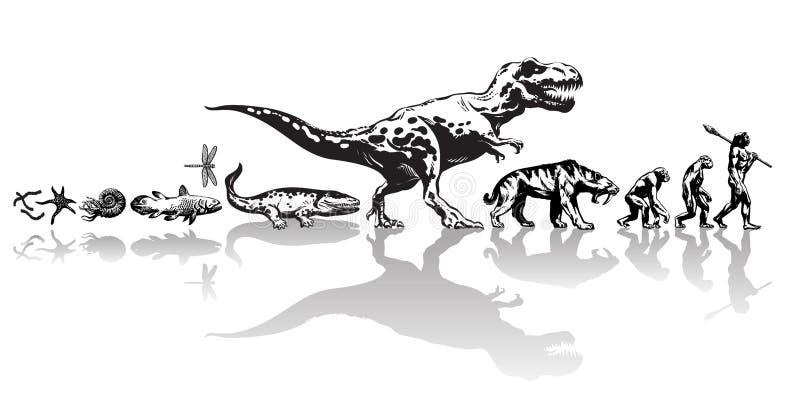 Geschichte des Lebens auf Erde Zeitachse der Entwicklung von den prähistorischen Tieren, Dinosaurier, gezahnter Tiger des Säbels, stock abbildung