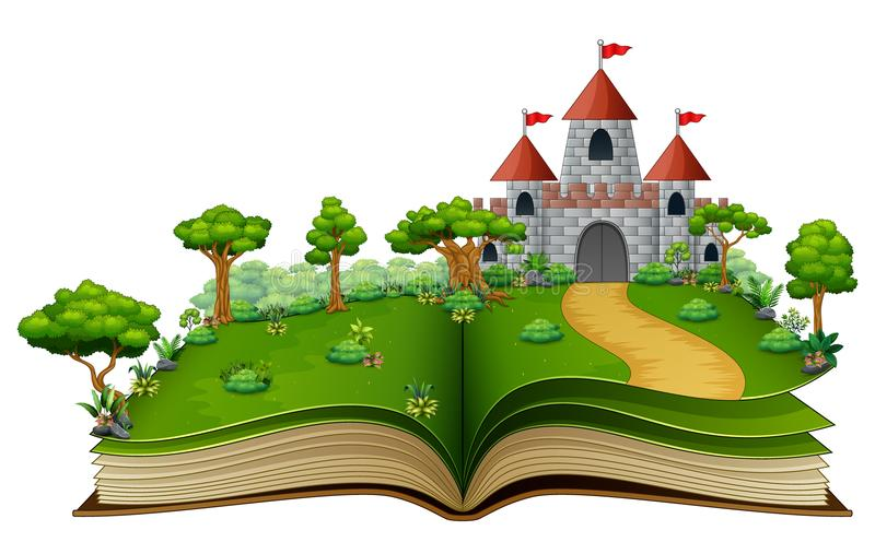 Geschichtenbuch mit einem Schloss und Fluss im grünen Park stock abbildung