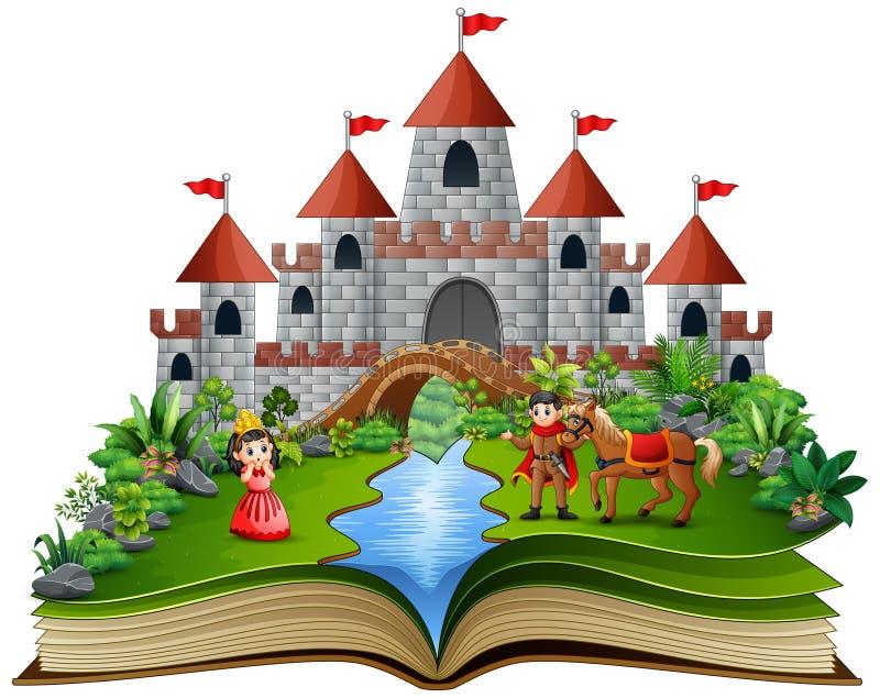 Geschichtenbuch mit Karikaturprinzessinnen und Prinzen vor einem Schloss lizenzfreie abbildung