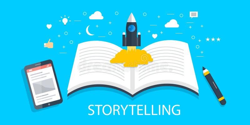 Geschichtenerzählen - Markengeschichte - kreative zufriedene Entwicklung - neue Idee - zufriedenes Schreibenskonzept Flache Desig stock abbildung