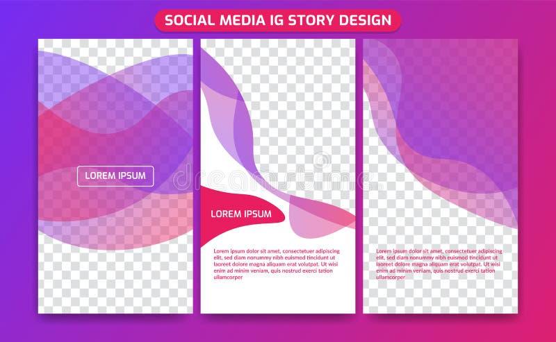 Geschichtenrahmensatz-Hintergrundschablone instagram ig Social Media der bunten flüssigen Spektrumschichtsteigung transparente ed stock abbildung