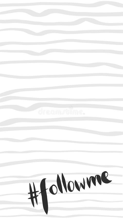 Geschichtenschablone für Social Media mit Wort hashtag Follow-me auf Grau streift Hintergrund stockfotos