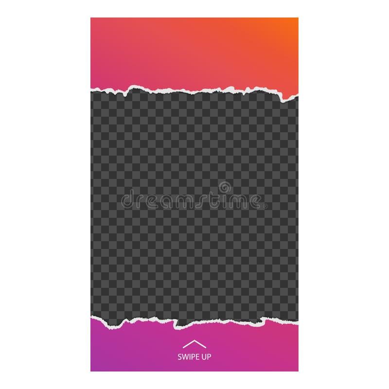 Geschichtenschablone Heftiges Papier Schnittstellensocial media Schablone ein App für aufpassende Benutzergeschichten stock abbildung