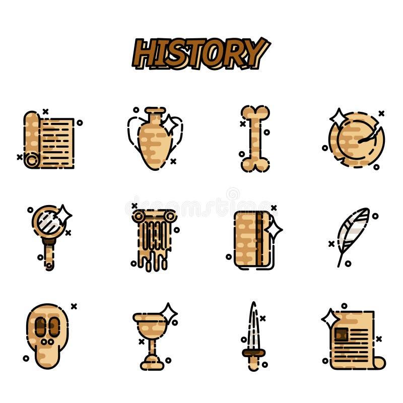 Geschiedenis en cultuurpictogrammen stock illustratie