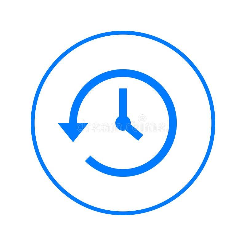 Geschiedenis, klok met pijl rond cirkellijnpictogram Rond kleurrijk teken Vlak stijl vectorsymbool vector illustratie