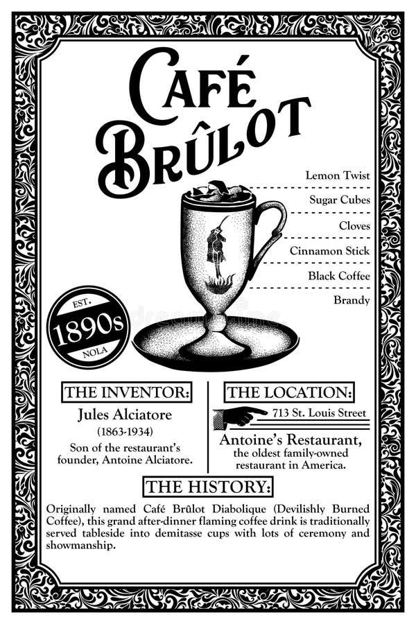 Geschiedenis van de Plengoffers of de Cocktails van New Orleans royalty-vrije illustratie