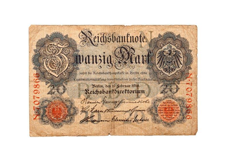Geschiedenis van Duits Bankbiljet zwanzig teken 1914 royalty-vrije stock fotografie