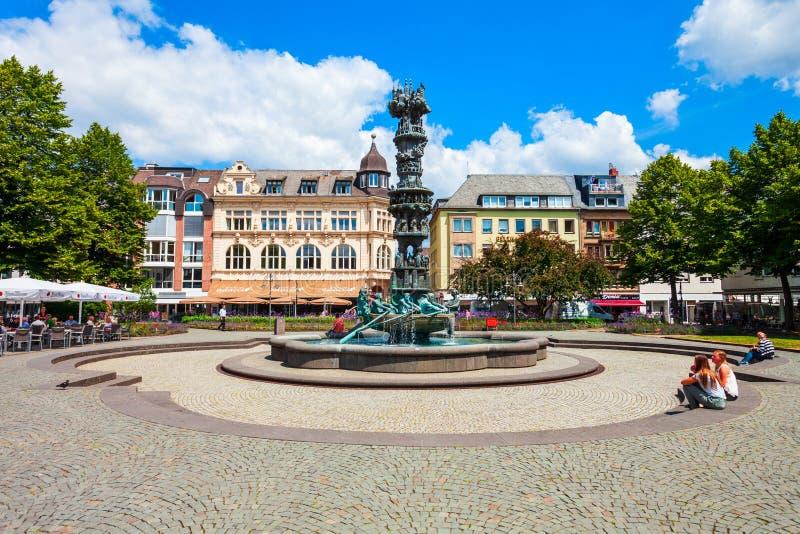 Geschiedeniskolom Historiensaule in Koblenz royalty-vrije stock fotografie