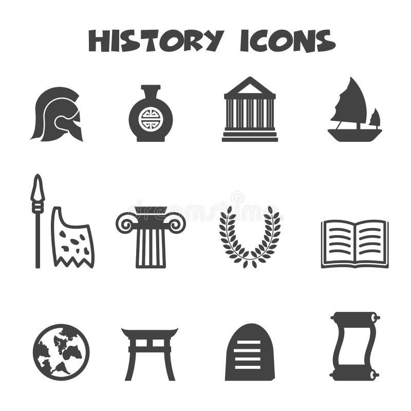 Geschiedenispictogrammen stock illustratie