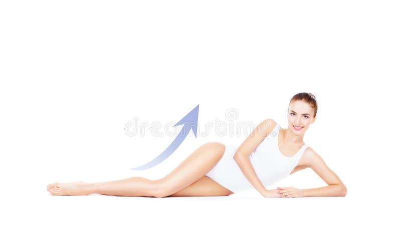 Geschikt en sportief meisje in wit ondergoed Mooie en gezonde wo royalty-vrije stock foto's