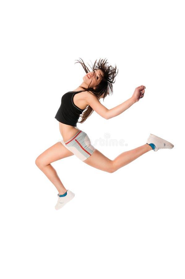 Geschikt meisje met hoog het springen royalty-vrije stock foto
