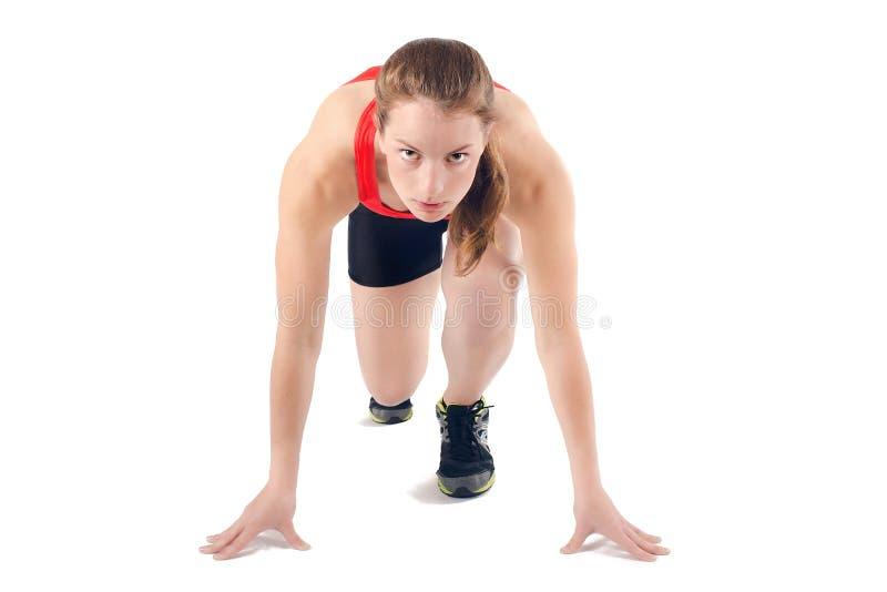 Geschikte Gezonde Sportvrouw Klaar om Race in werking te stellen Vrouwelijke Atleet Geïsoleerd Spint - stock afbeeldingen