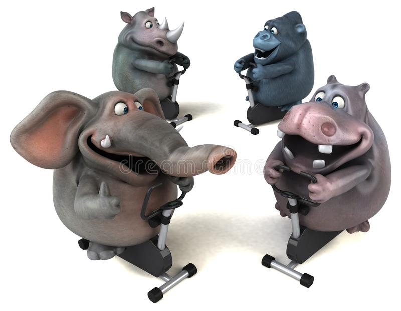 Geschikte hippo, rinoceros, olifant en gorilla - 3D Illustratie royalty-vrije illustratie