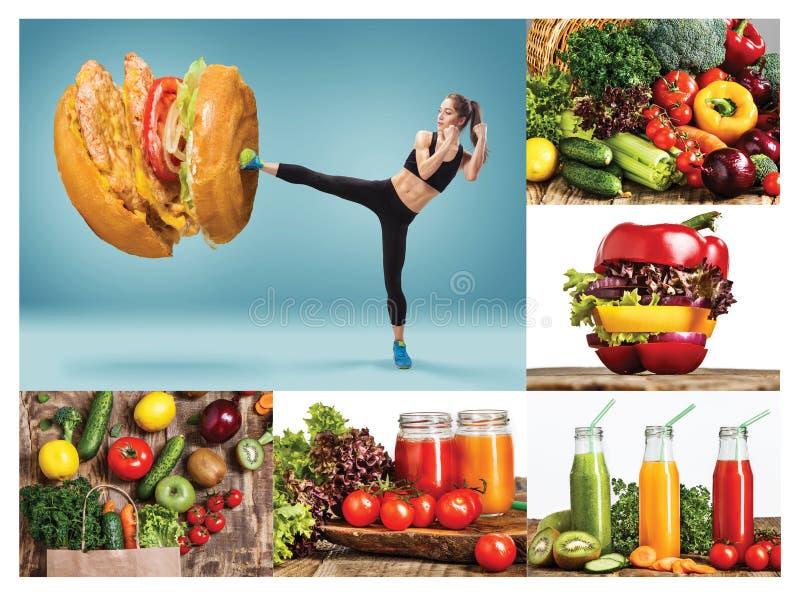 Geschikte jonge vrouw die slecht voedsel op een blauwe achtergrond afhouden stock afbeeldingen