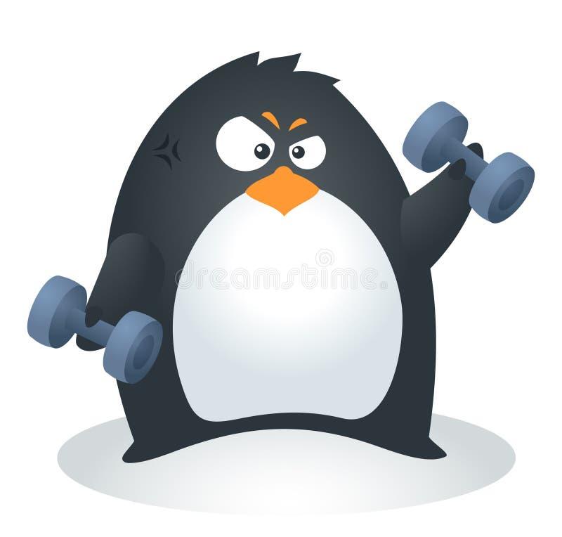 Geschikte Pinguïn Barbells stock illustratie