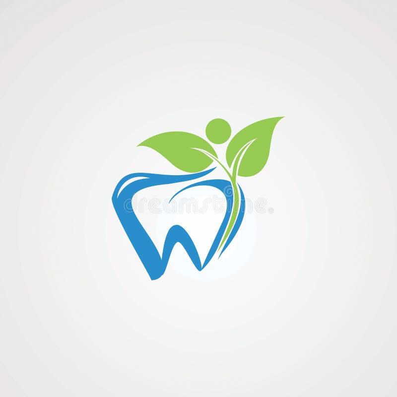 Geschikte tandarts met gezonde menselijke embleemvector, pictogram, element, en malplaatje voor bedrijf vector illustratie
