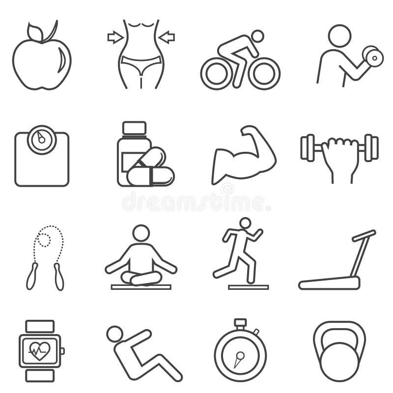 Geschiktheid, de pictogrammen van de dieetlijn royalty-vrije illustratie